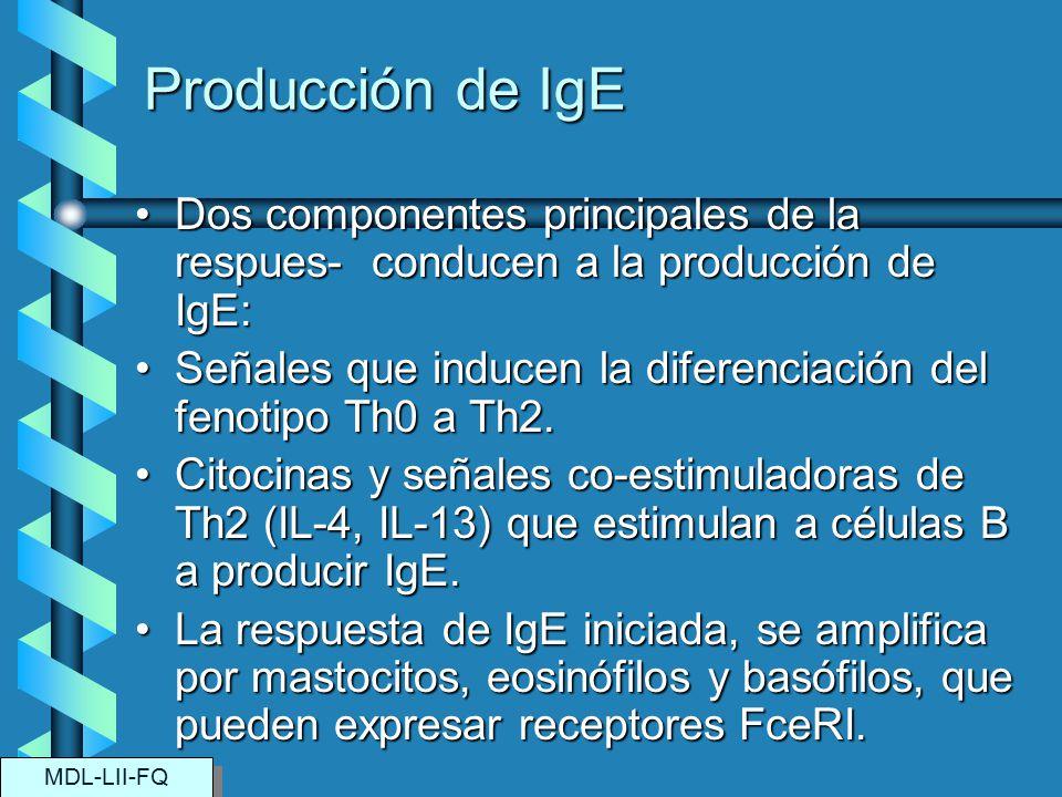 Producción de IgE Dos componentes principales de la respues- conducen a la producción de IgE:Dos componentes principales de la respues- conducen a la