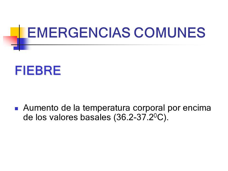 FIEBRE Aumento de la temperatura corporal por encima de los valores basales (36.2-37.2 0 C).