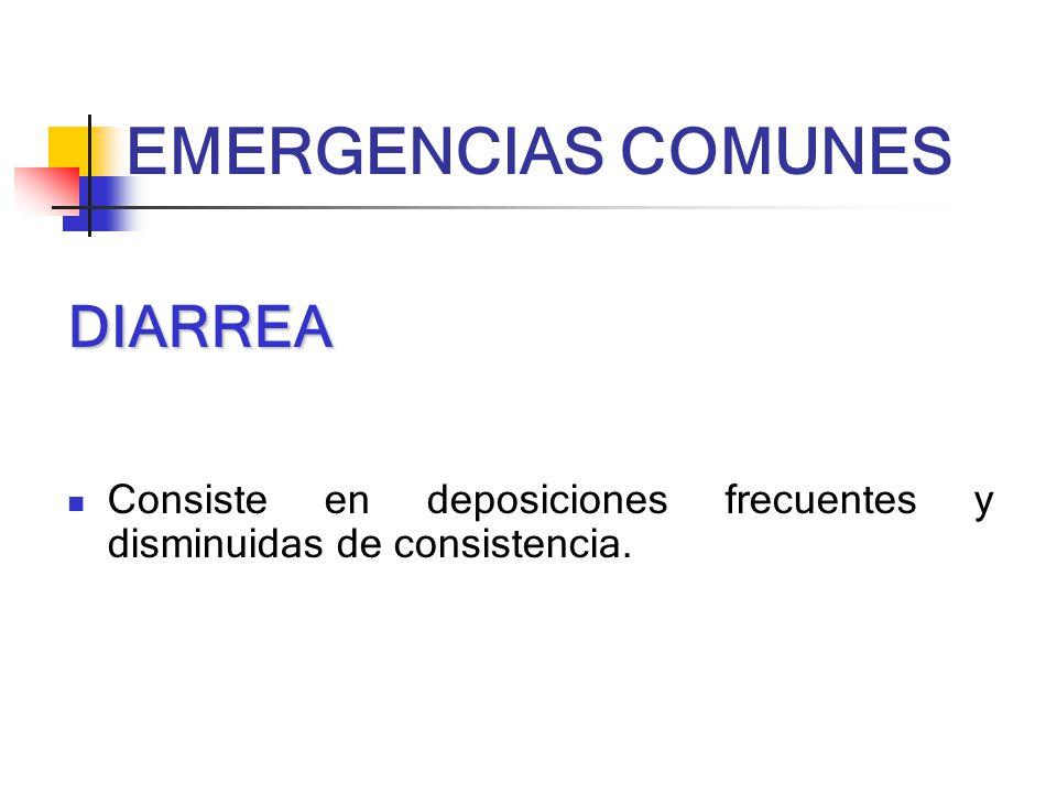 DIARREA Consiste en deposiciones frecuentes y disminuidas de consistencia. EMERGENCIAS COMUNES