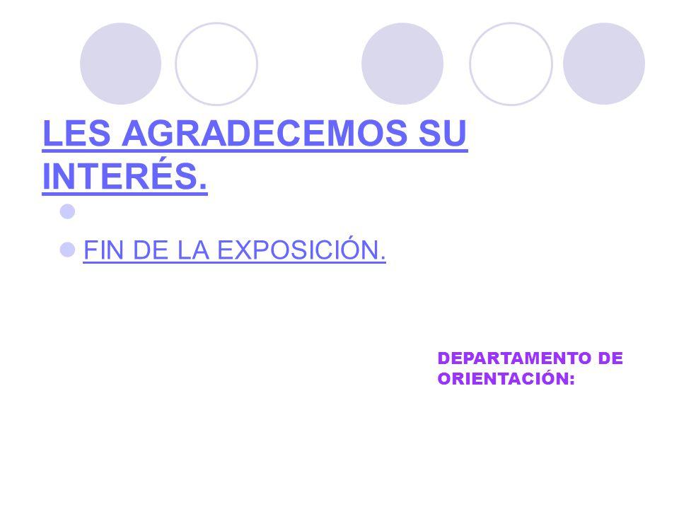 LES AGRADECEMOS SU INTERÉS. FIN DE LA EXPOSICIÓN. DEPARTAMENTO DE ORIENTACIÓN: