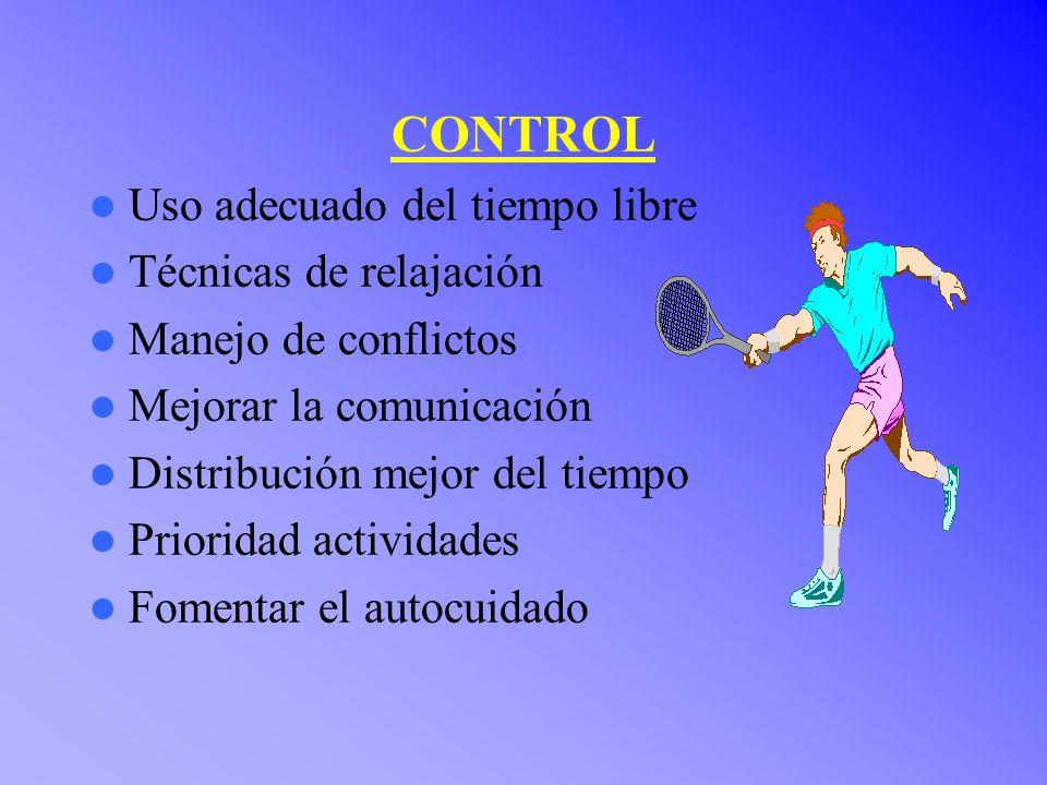 CONTROL Uso adecuado del tiempo libre Técnicas de relajación Manejo de conflictos Mejorar la comunicación Distribución mejor del tiempo Prioridad actividades Fomentar el autocuidado