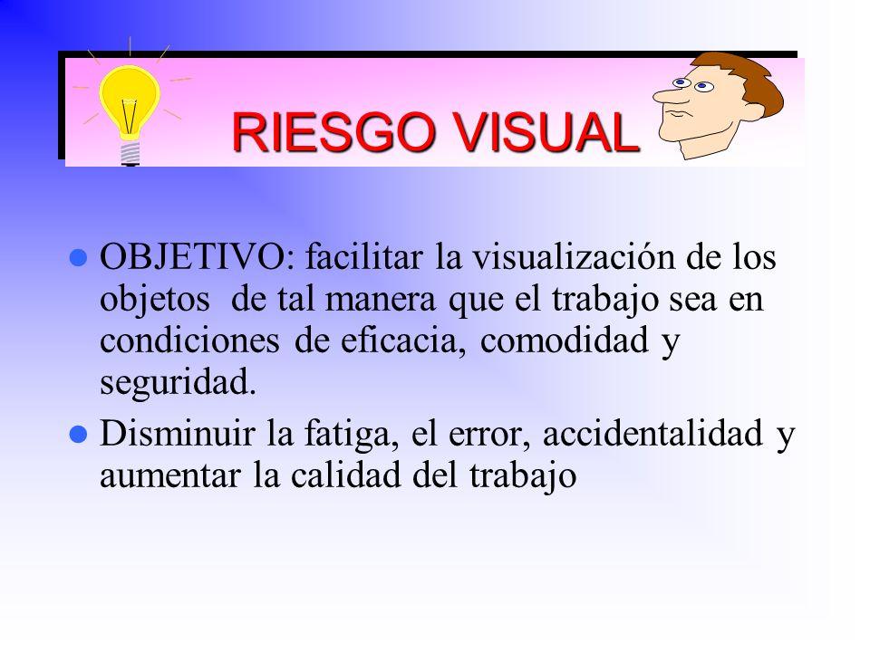 RIESGO VISUAL OBJETIVO: facilitar la visualización de los objetos de tal manera que el trabajo sea en condiciones de eficacia, comodidad y seguridad.