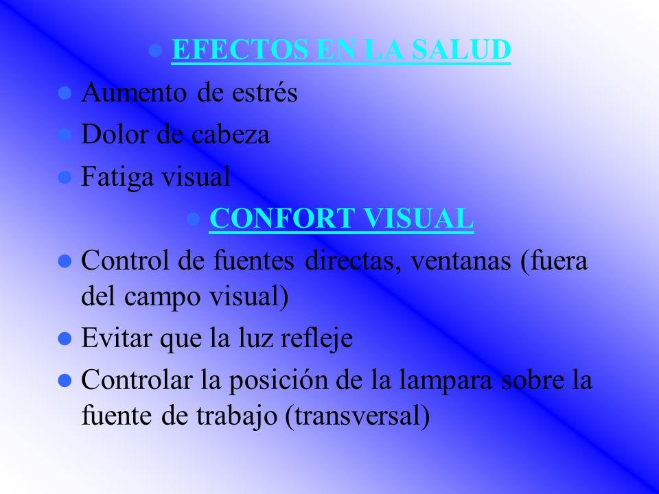 EFECTOS EN LA SALUD Aumento de estrés Dolor de cabeza Fatiga visual CONFORT VISUAL Control de fuentes directas, ventanas (fuera del campo visual) Evitar que la luz refleje Controlar la posición de la lampara sobre la fuente de trabajo (transversal)