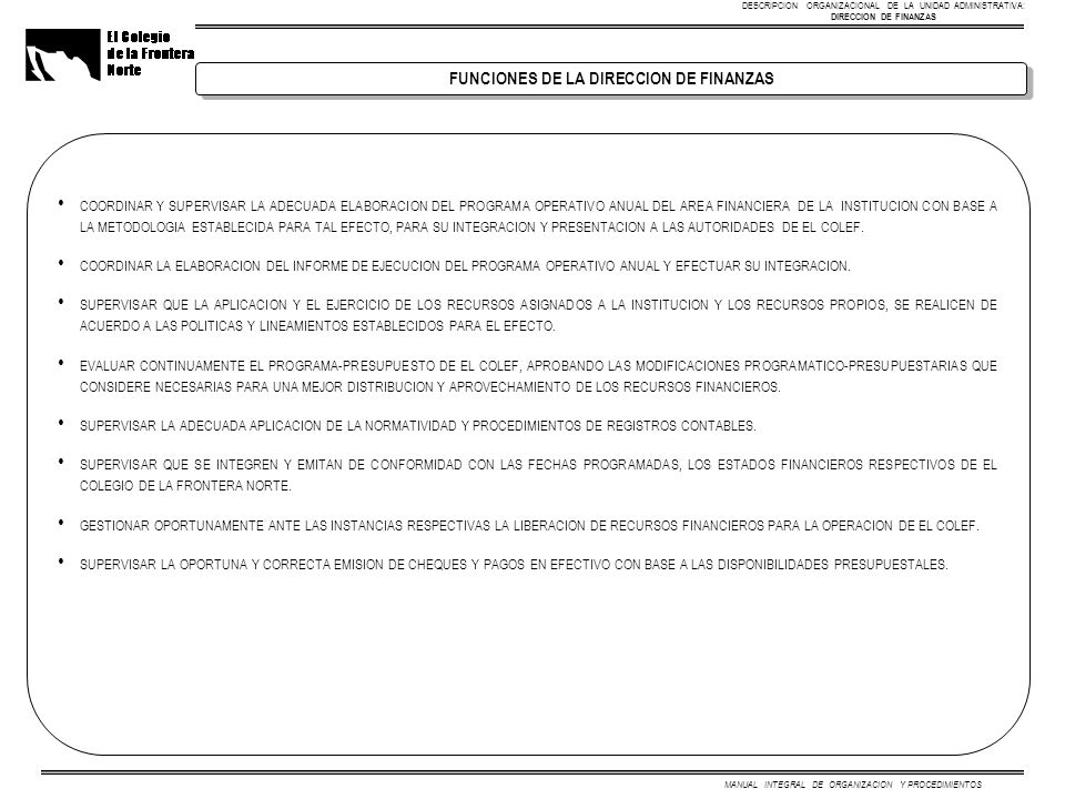 MANUAL INTEGRAL DE ORGANIZACION Y PROCEDIMIENTOS COORDINAR Y SUPERVISAR LA ADECUADA ELABORACION DEL PROGRAMA OPERATIVO ANUAL DEL AREA FINANCIERA DE LA