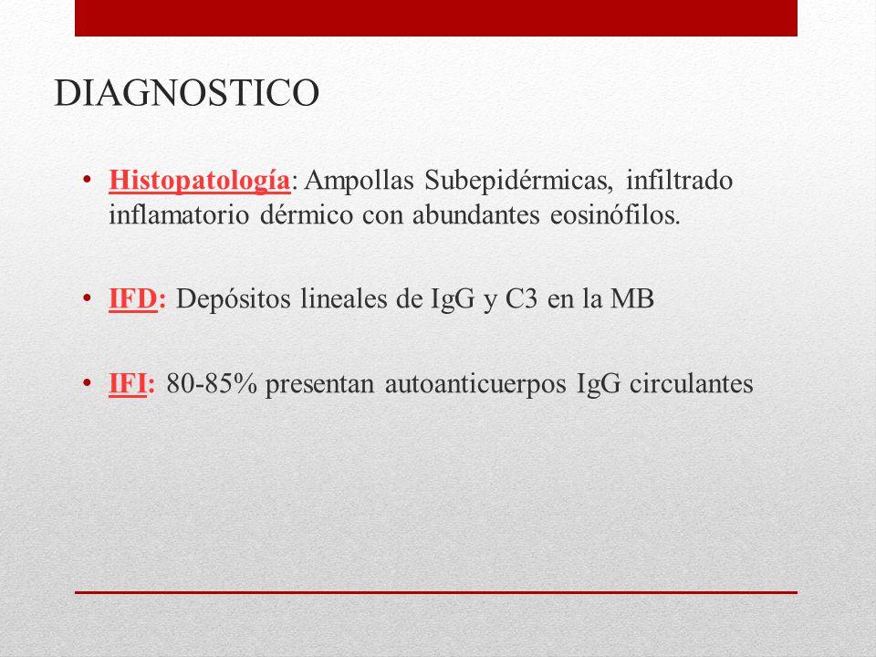 DIAGNOSTICO Histopatología: Ampollas Subepidérmicas, infiltrado inflamatorio dérmico con abundantes eosinófilos.