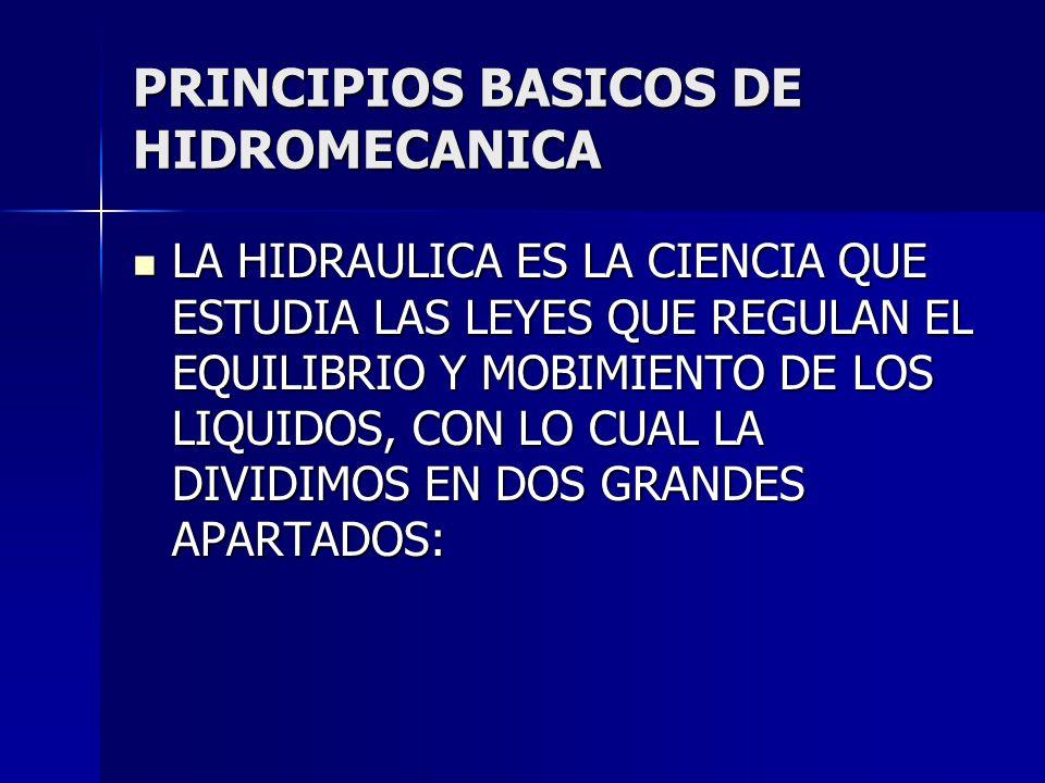 PRINCIPIOS BASICOS DE HIDROMECANICA LA HIDRAULICA ES LA CIENCIA QUE ESTUDIA LAS LEYES QUE REGULAN EL EQUILIBRIO Y MOBIMIENTO DE LOS LIQUIDOS, CON LO C