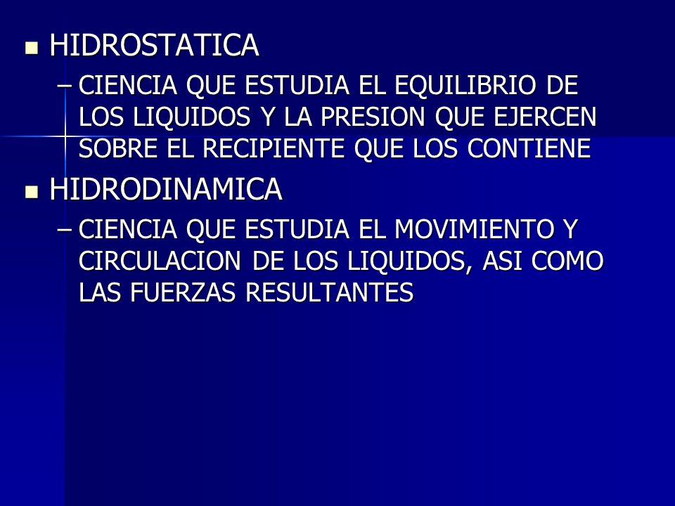 HIDROSTATICA HIDROSTATICA –CIENCIA QUE ESTUDIA EL EQUILIBRIO DE LOS LIQUIDOS Y LA PRESION QUE EJERCEN SOBRE EL RECIPIENTE QUE LOS CONTIENE HIDRODINAMI