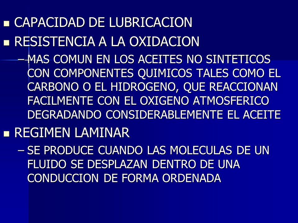 CAPACIDAD DE LUBRICACION CAPACIDAD DE LUBRICACION RESISTENCIA A LA OXIDACION RESISTENCIA A LA OXIDACION –MAS COMUN EN LOS ACEITES NO SINTETICOS CON CO