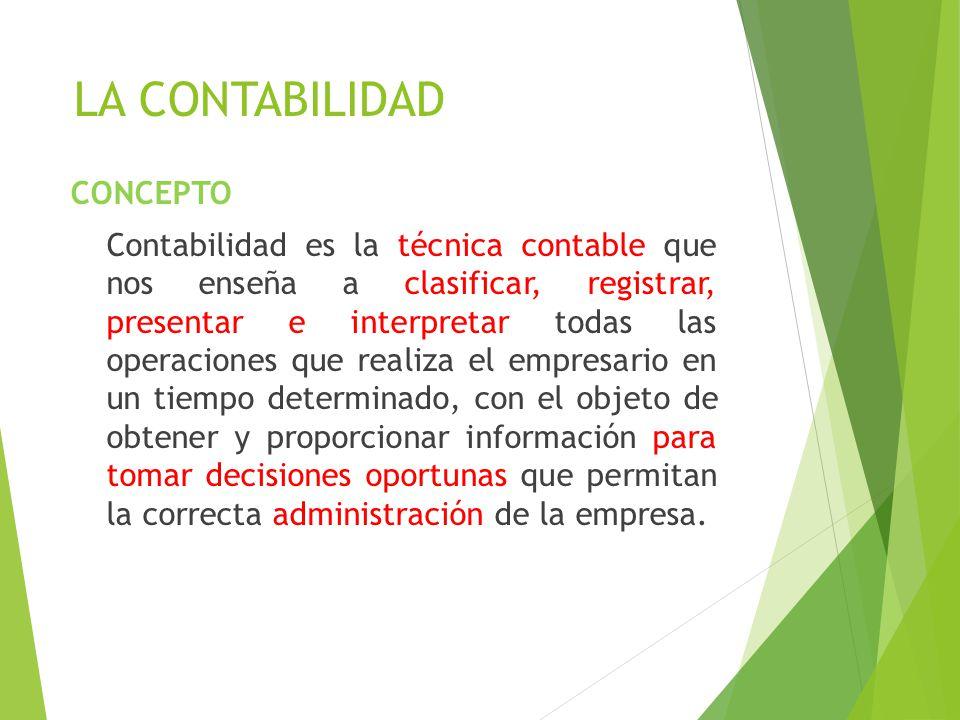 LA CONTABILIDAD CONCEPTO Contabilidad es la técnica contable que nos enseña a clasificar, registrar, presentar e interpretar todas las operaciones que