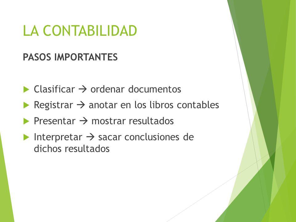 LA CONTABILIDAD PASOS IMPORTANTES  Clasificar  ordenar documentos  Registrar  anotar en los libros contables  Presentar  mostrar resultados  In