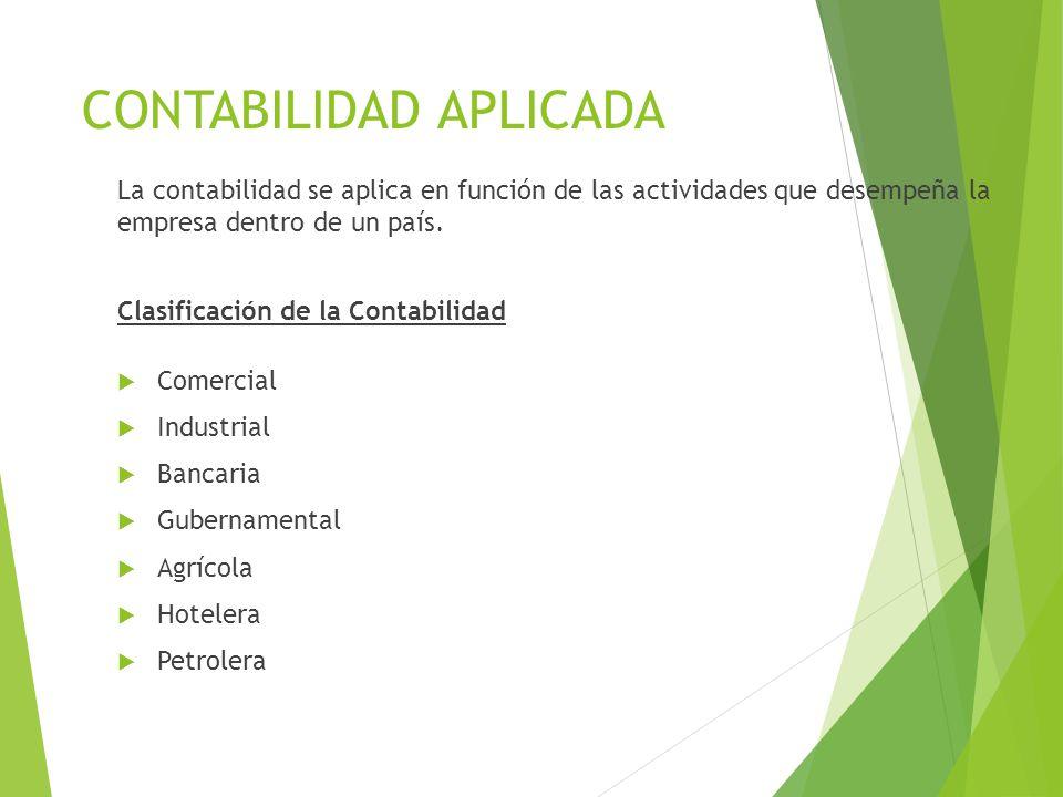 CONTABILIDAD APLICADA La contabilidad se aplica en función de las actividades que desempeña la empresa dentro de un país. Clasificación de la Contabil
