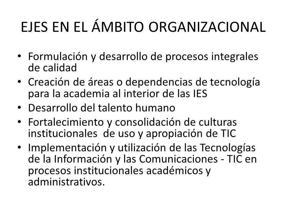 EJES EN EL ÁMBITO ORGANIZACIONAL Formulación y desarrollo de procesos integrales de calidad Creación de áreas o dependencias de tecnología para la academia al interior de las IES Desarrollo del talento humano Fortalecimiento y consolidación de culturas institucionales de uso y apropiación de TIC Implementación y utilización de las Tecnologías de la Información y las Comunicaciones - TIC en procesos institucionales académicos y administrativos.