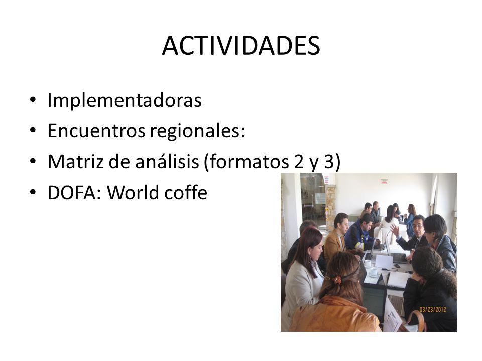 ACTIVIDADES Implementadoras Encuentros regionales: Matriz de análisis (formatos 2 y 3) DOFA: World coffe
