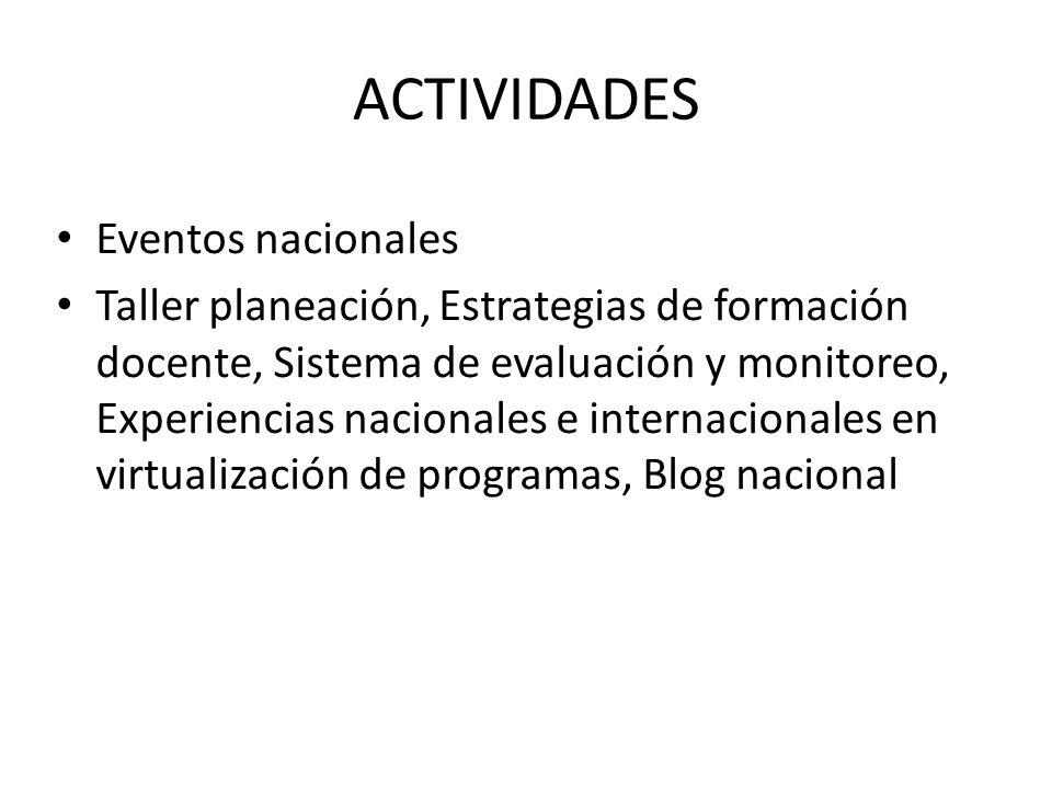 ACTIVIDADES Eventos nacionales Taller planeación, Estrategias de formación docente, Sistema de evaluación y monitoreo, Experiencias nacionales e internacionales en virtualización de programas, Blog nacional
