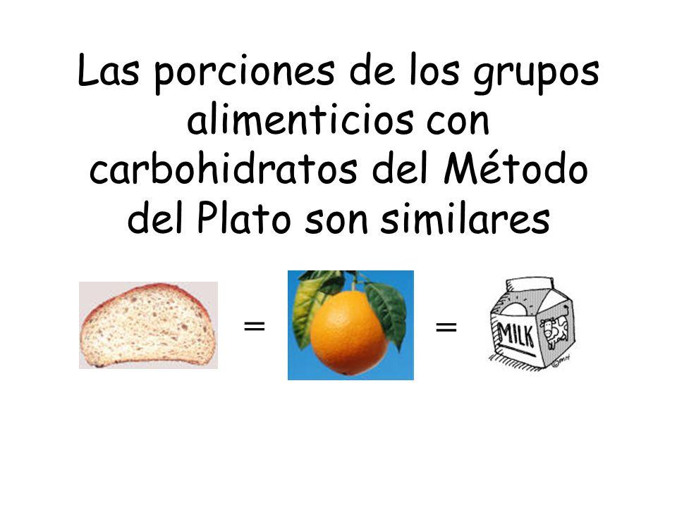Las porciones de los grupos alimenticios con carbohidratos del Método del Plato son similares = =
