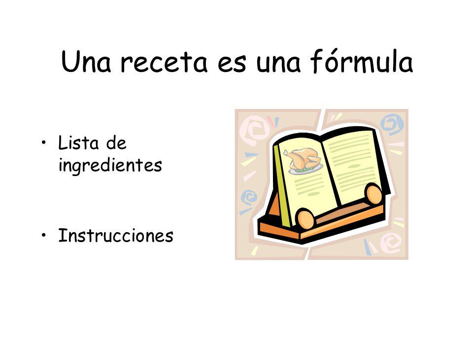 Una receta es una fórmula Lista de ingredientes Instrucciones