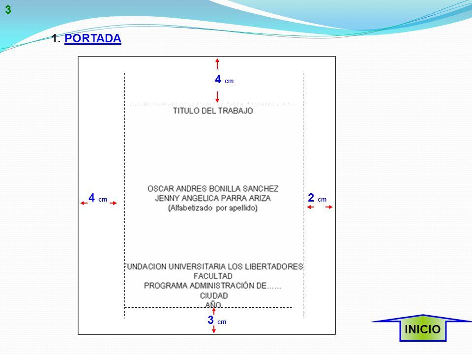 1. PORTADA 3 cm 4 cm 2 cm 4 cm INICIO 3