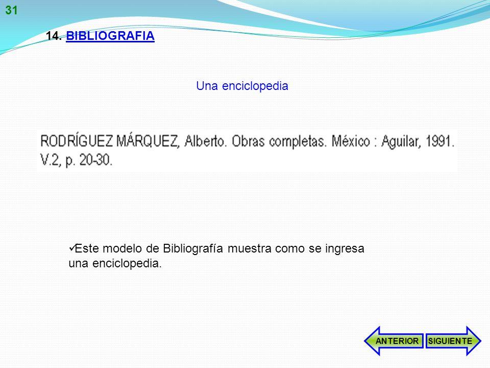 14.BIBLIOGRAFIA Este modelo de Bibliografía muestra como se ingresa una enciclopedia.