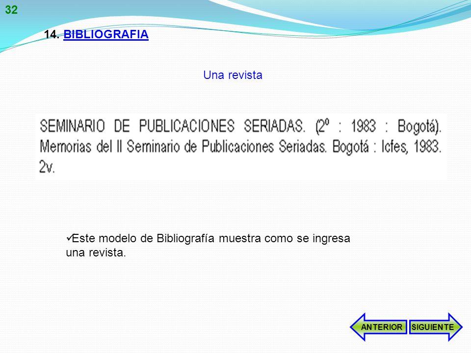 14.BIBLIOGRAFIA Este modelo de Bibliografía muestra como se ingresa una revista.