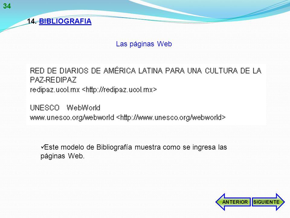 14.BIBLIOGRAFIA Este modelo de Bibliografía muestra como se ingresa las páginas Web.