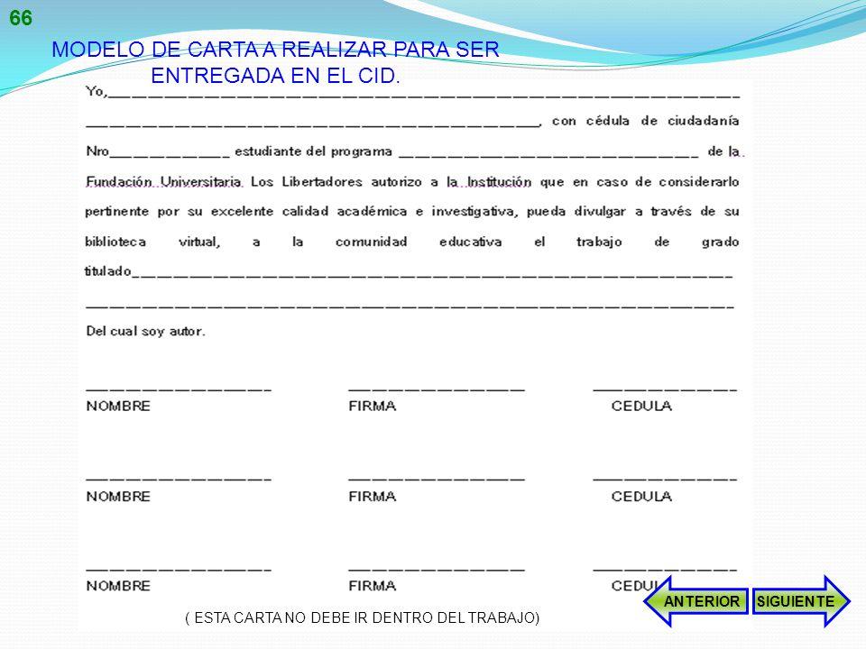 MODELO DE CARTA A REALIZAR PARA SER ENTREGADA EN EL CID.