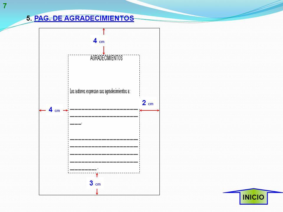 5. PAG. DE AGRADECIMIENTOS INICIO 4 cm 2 cm 3 cm 7