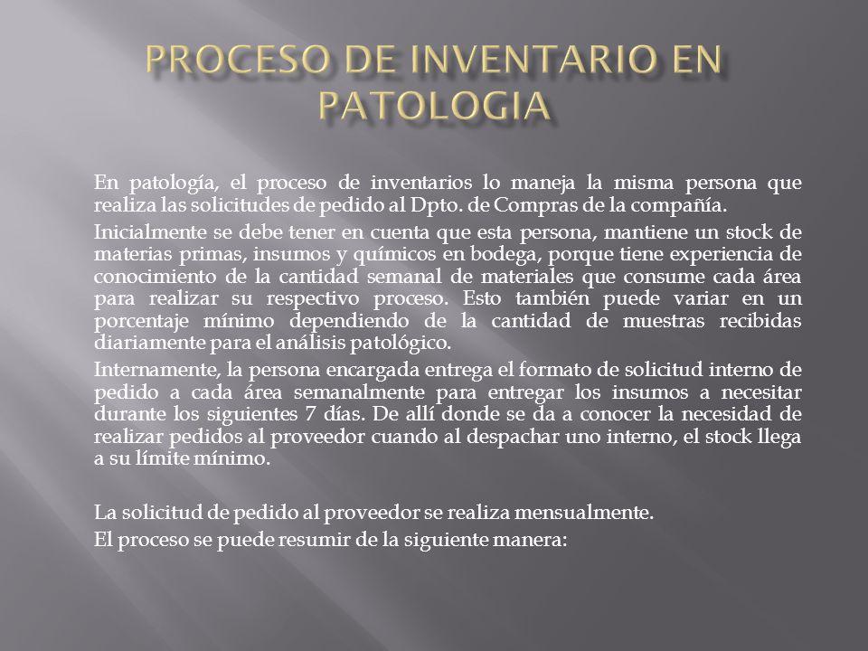 En patología, el proceso de inventarios lo maneja la misma persona que realiza las solicitudes de pedido al Dpto.