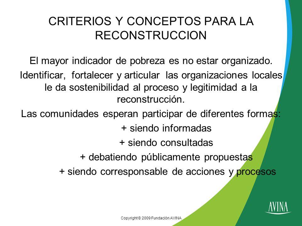 Copyright © 2009 Fundación AVINA CRITERIOS Y CONCEPTOS PARA LA RECONSTRUCCION El mayor indicador de pobreza es no estar organizado.