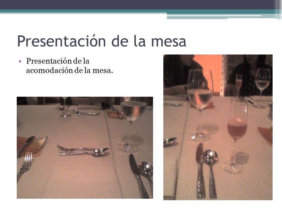 Presentación de la mesa Presentación de la acomodación de la mesa.