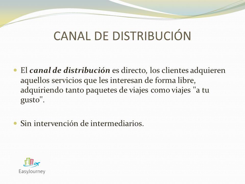 CANAL DE DISTRIBUCIÓN El canal de distribución es directo, los clientes adquieren aquellos servicios que les interesan de forma libre, adquiriendo tanto paquetes de viajes como viajes a tu gusto .