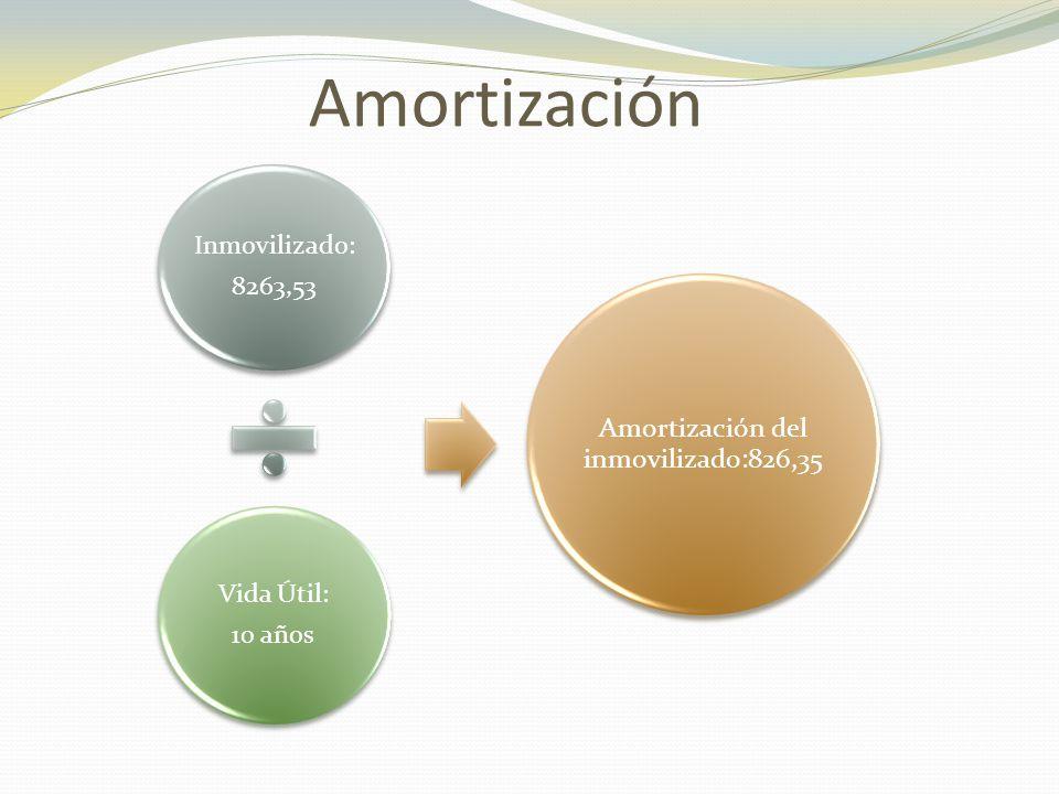 Amortización Inmovilizado: 8263,53 Vida Útil: 10 años Amortización del inmovilizado:826,35