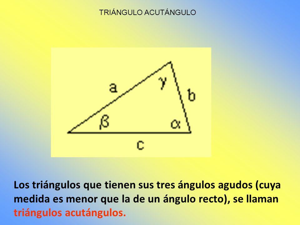 Los triángulos que tienen un ángulo obtuso (cuya medida es mayor que la de un ángulo recto), se llaman triángulos obtusángulos. TRIÁNGULO OBTUSÁNGULO