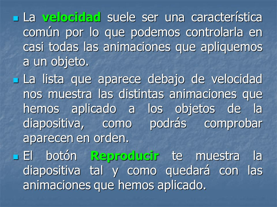 En la lista desplegable Inicio podemos seleccionar cuándo queremos que se aplique la animación (al hacer clic sobre el ratón, después de la anterior d