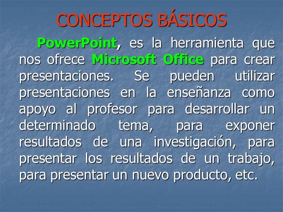 CONCEPTOS BÁSICOS PowerPoint, es la herramienta que nos ofrece Microsoft Office para crear presentaciones.