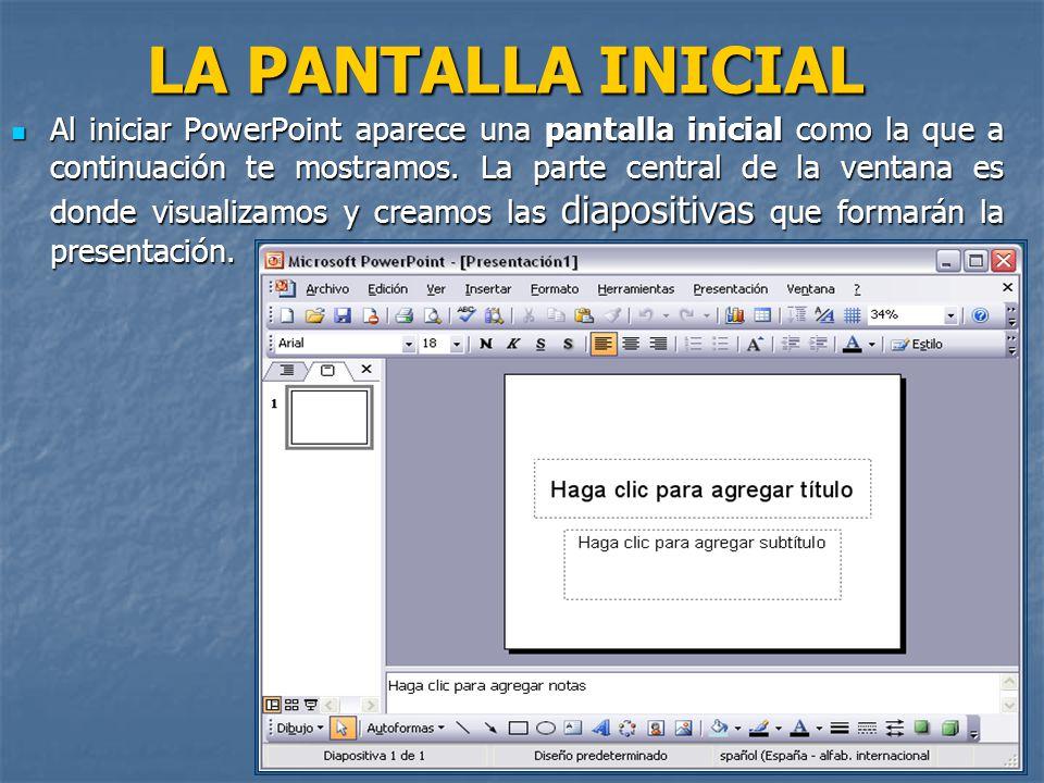 LA PANTALLA INICIAL LA PANTALLA INICIAL Al iniciar PowerPoint aparece una pantalla inicial como la que a continuación te mostramos.