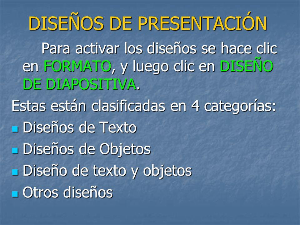DISEÑOS DE PRESENTACIÓN Para activar los diseños se hace clic en FORMATO, y luego clic en DISEÑO DE DIAPOSITIVA.