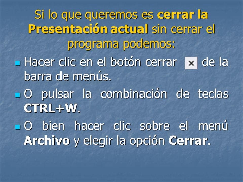 CÓMO CERRAR POWERPOINT: Para cerrar PowerPoint, puedes utilizar cualquiera de las siguientes operaciones: De la barra de título hacer clic en el botón