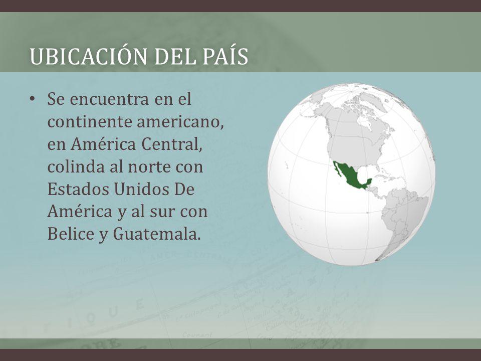 UBICACIÓN DEL PAÍSUBICACIÓN DEL PAÍS Se encuentra en el continente americano, en América Central, colinda al norte con Estados Unidos De América y al sur con Belice y Guatemala.