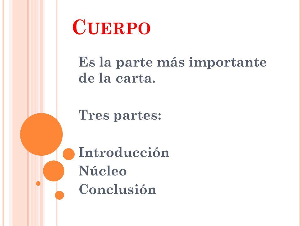 C UERPO Es la parte más importante de la carta. Tres partes: Introducción Núcleo Conclusión