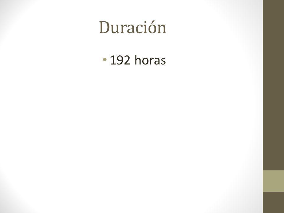 Duración 192 horas