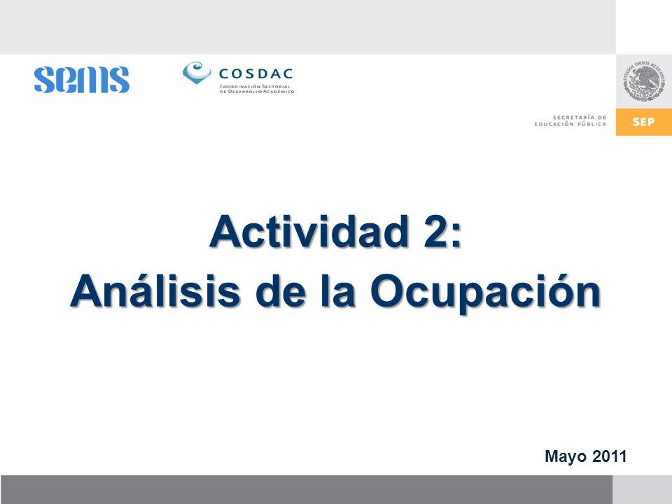 Actividad 2: Análisis de la Ocupación Mayo 2011