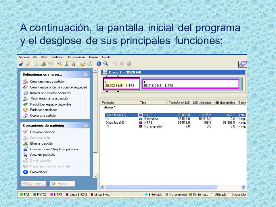A continuación, la pantalla inicial del programa y el desglose de sus principales funciones: