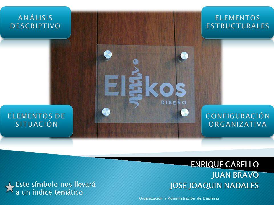 ENRIQUE CABELLO JUAN BRAVO JOSE JOAQUIN NADALES Organización y Administración de Empresas Este símbolo nos llevará a un índice temático