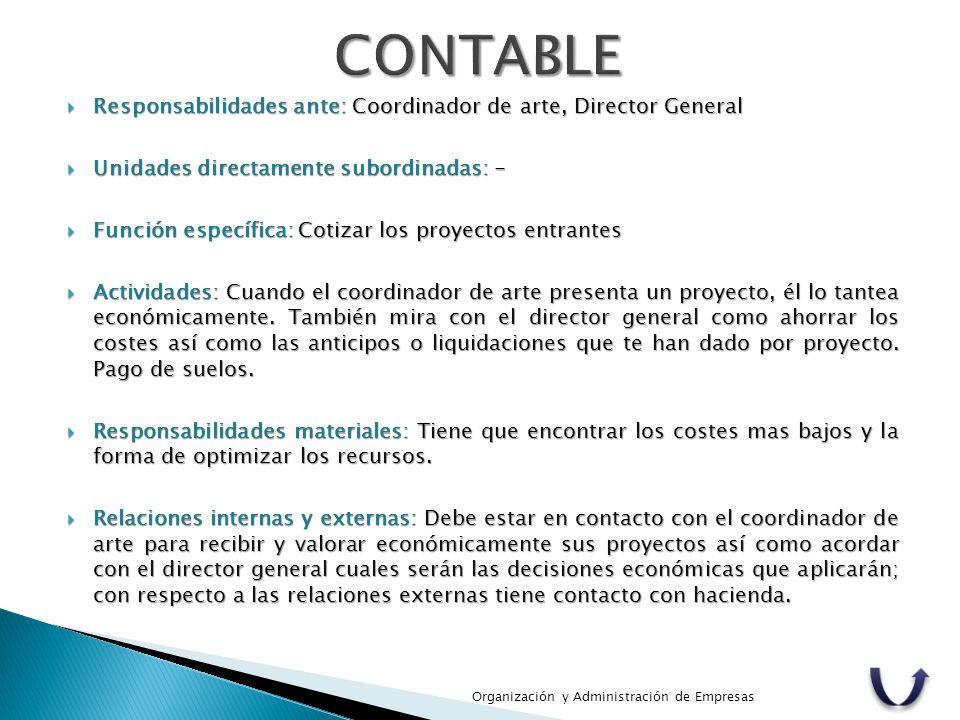  Responsabilidades ante: Coordinador de arte, Director General  Unidades directamente subordinadas: -  Función específica: Cotizar los proyectos en