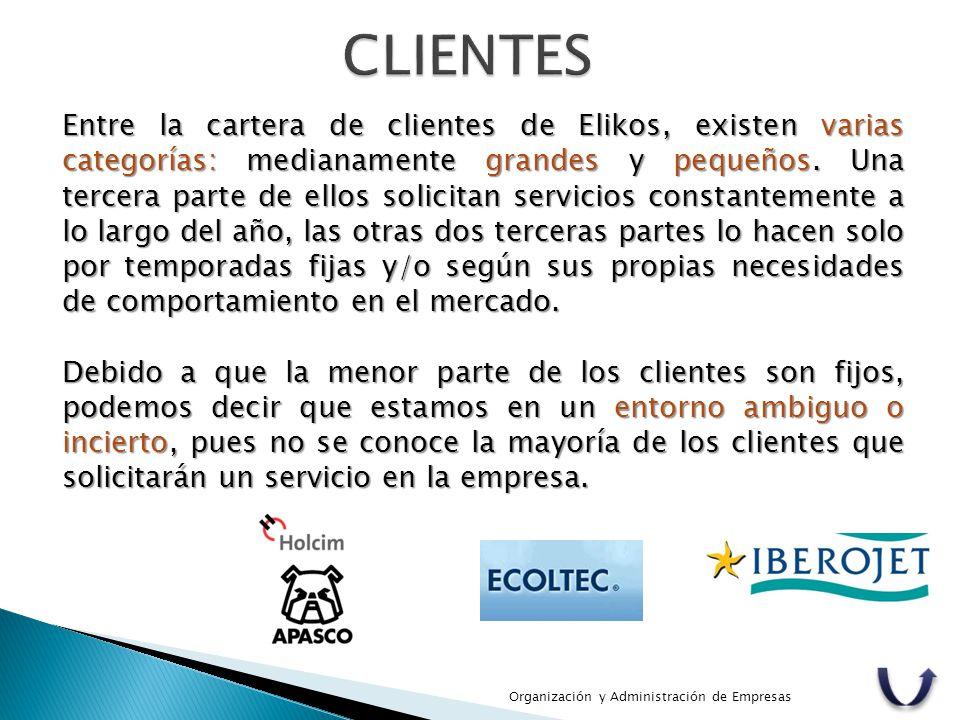 Entre la cartera de clientes de Elikos, existen varias categorías: medianamente grandes y pequeños. Una tercera parte de ellos solicitan servicios con