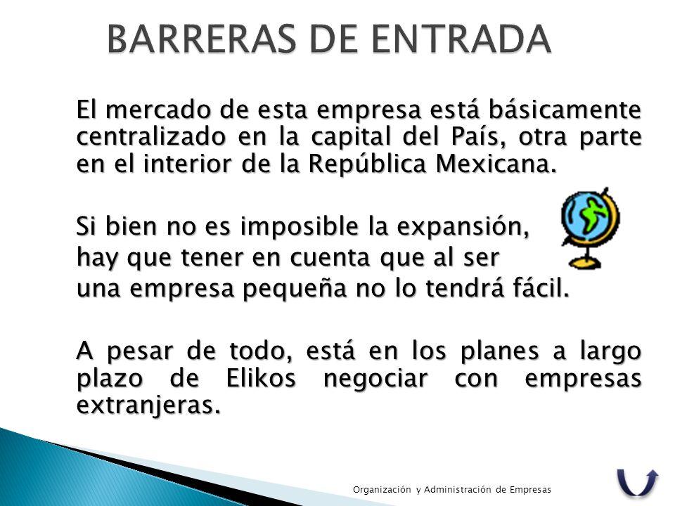 El mercado de esta empresa está básicamente centralizado en la capital del País, otra parte en el interior de la República Mexicana. Si bien no es imp