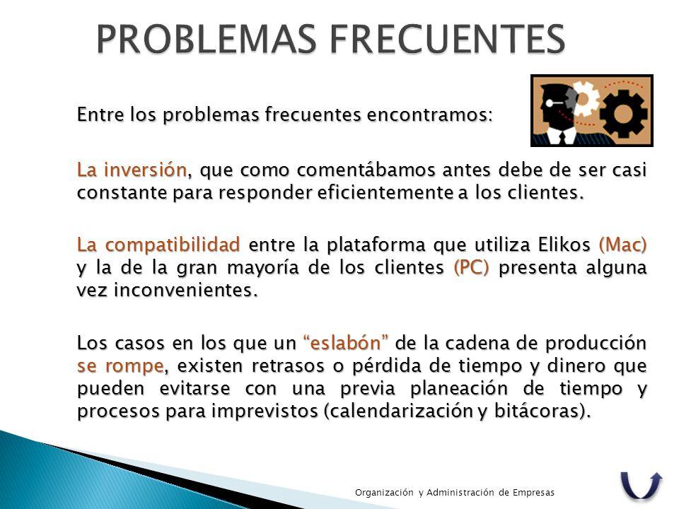 Organización y Administración de Empresas Entre los problemas frecuentes encontramos: La inversión, que como comentábamos antes debe de ser casi const