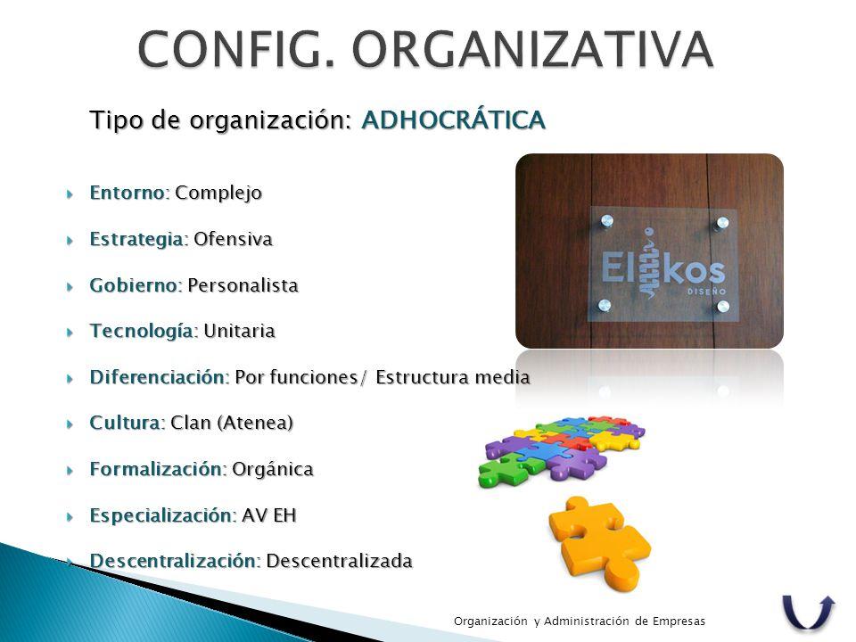 Tipo de organización: ADHOCRÁTICA  Entorno: Complejo  Estrategia: Ofensiva  Gobierno: Personalista  Tecnología: Unitaria  Diferenciación: Por fun