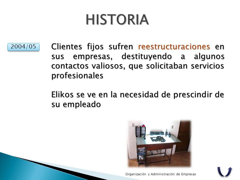Organización y Administración de Empresas 2004/05 Clientes fijos sufren reestructuraciones en sus empresas, destituyendo a algunos contactos valiosos,