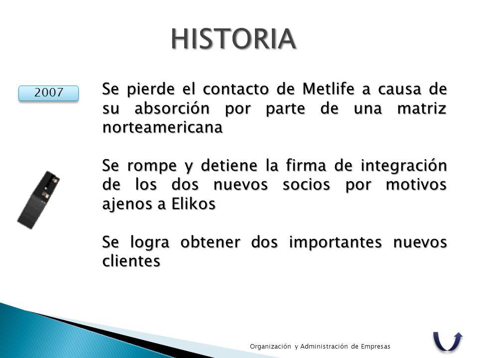 Organización y Administración de Empresas 2007 Se pierde el contacto de Metlife a causa de su absorción por parte de una matriz norteamericana Se romp